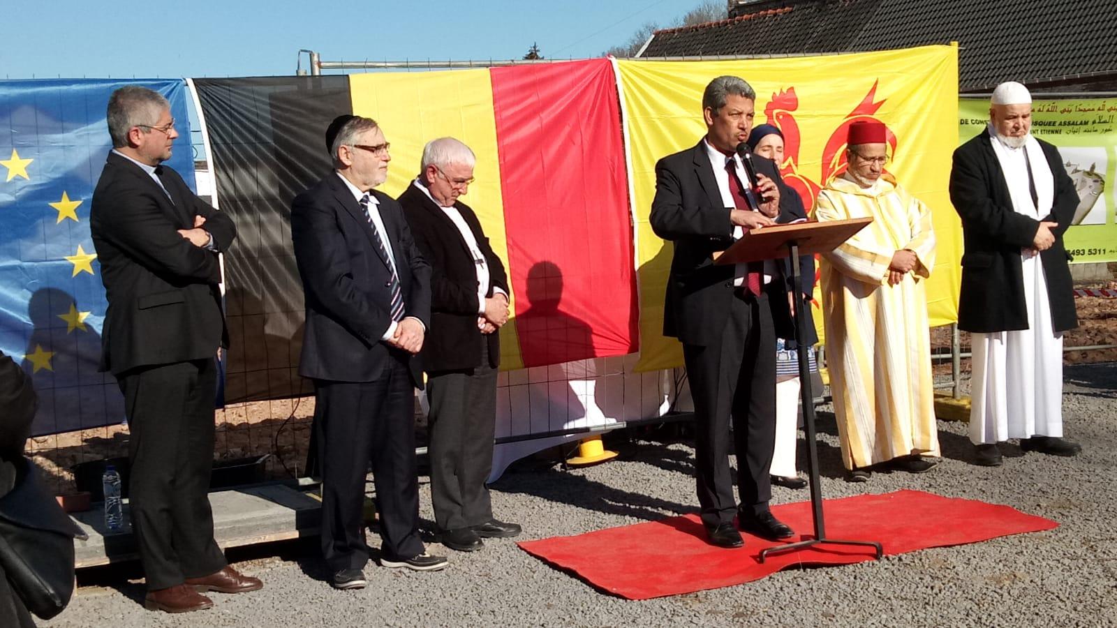 بحضور سفير المملكة المغربية ببلجيكا و شخصيات مهمة تدشين بناء صرح ديني كبير بمدينة كورت سانت إتيان البلجيكية.
